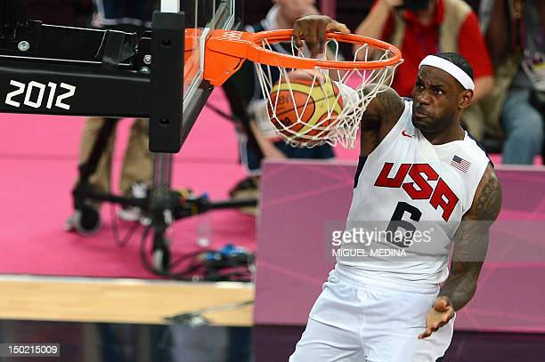 Forward LeBron James scores during the London 2012 Olympic Games men's gold medal basketball game between USA and Spain at the North Greenwich Arena...