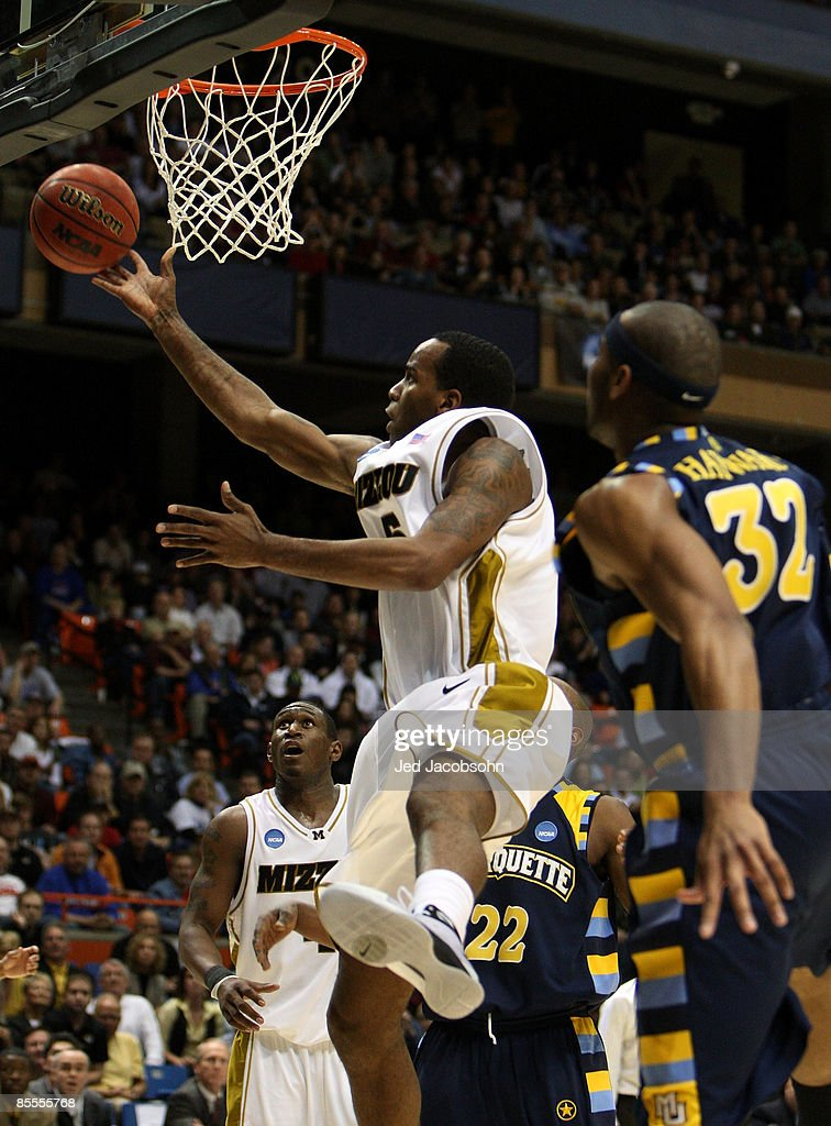 Forward Leo Lyons #5 of the Missouri Tigers takes a shot against the Marquette Golden Eagles during the second round of the NCAA Division I Men's Basketball Tournament at the Taco Bell Arena on March 22, 2009 in Boise, Idaho.
