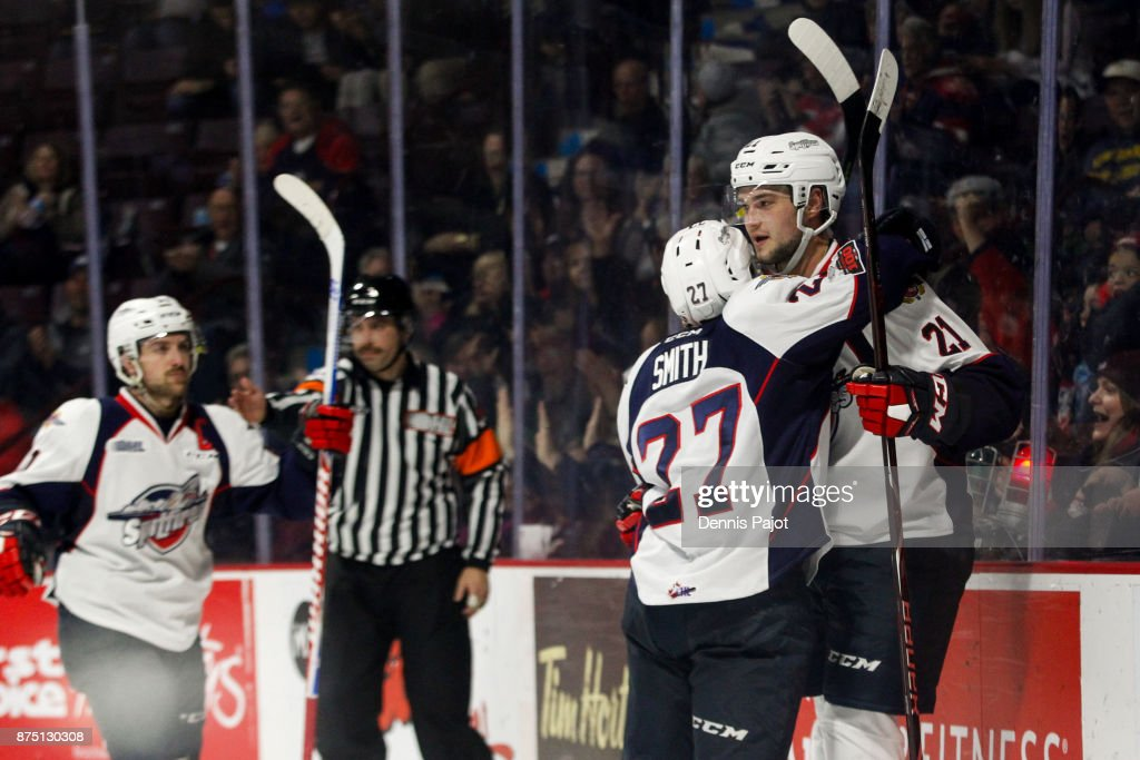 Forward Logan Brown #21 of the Windsor Spitfires celebrates his second-period goal against of the Owen Sound Attack on November 16, 2017 at the WFCU Centre in Windsor, Ontario, Canada.