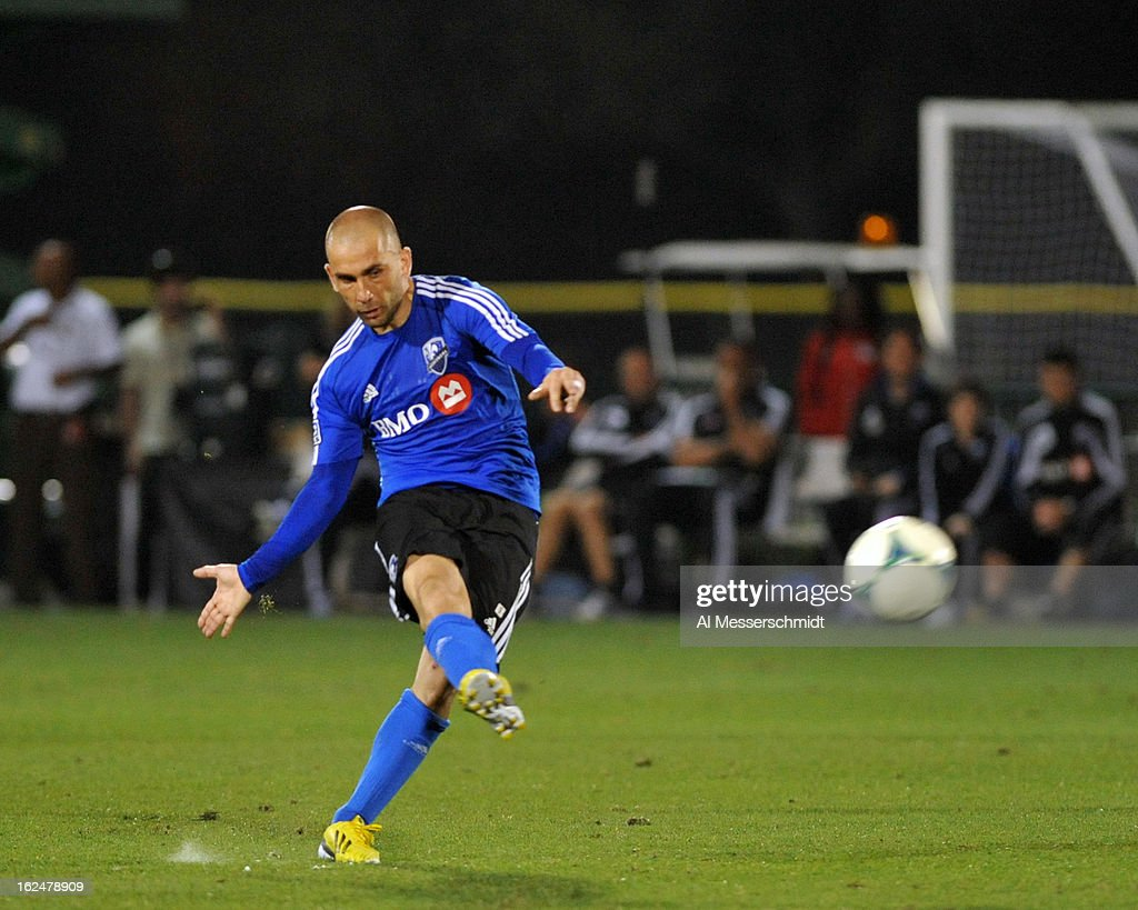 Forward Marco Di Vaio #9 of the Montreal Impact attempts a penalty kick against the Columbus Crew in the final round of the Disney Pro Soccer Classic on February 23, 2013 at the ESPN Wide World of Sports Complex in Orlando, Florida.