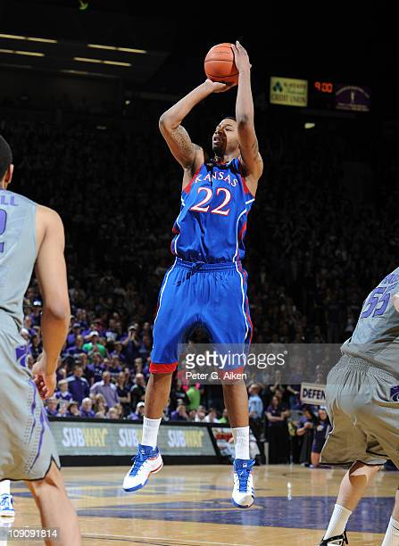 Forward Marcus Morris of the Kansas Jayhawks puts up a shot against the Kansas State Wildcats during the first half on February 14, 2011 at Bramlage...