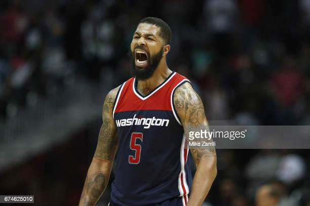 Forward Markieff Morris of the Washington Wizards celebrates during Game Six of the Eastern Conference Quarterfinals against the Atlanta Hawks at...
