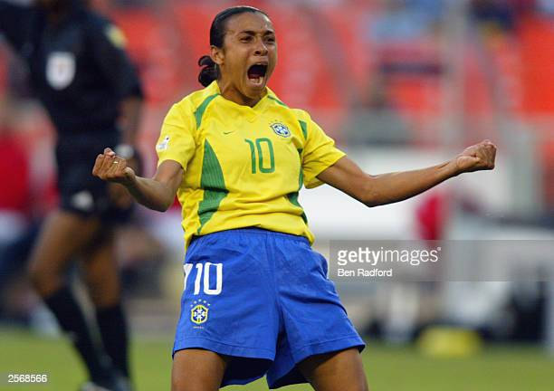 Forward Marta of Brazil celebrates her goal against Norway during the FIFA Women's World Cup Group B match at RFK Memorial Stadium on September 24...