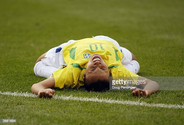 Forward Marta of Brazil screams after being fouled and awarded a penalty kick against Sweden during the FIFA Women's World Cup quarterfinal match at...