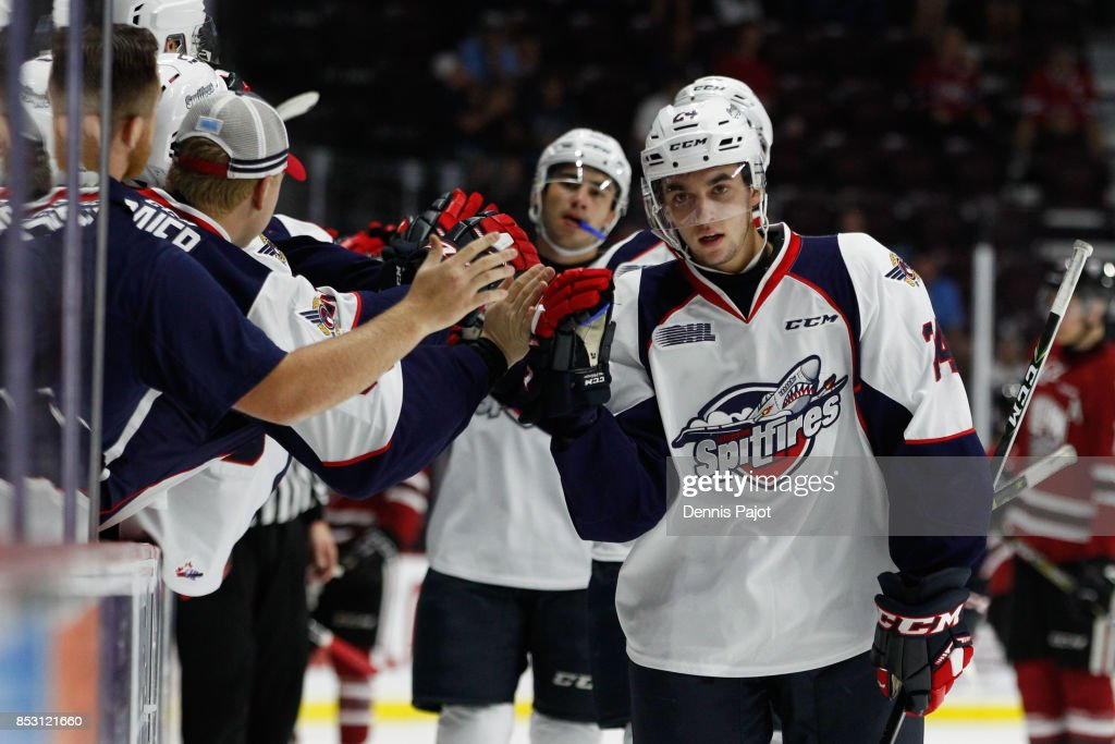 Forward Mathew MacDougall #24 of the Windsor Spitfires celebrates his first period goal against the Guelph Storm on September 24, 2017 at the WFCU Centre in Windsor, Ontario, Canada.