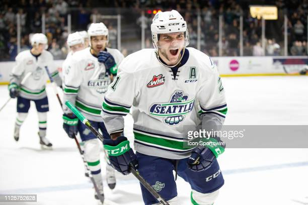 Forward Matthew Wedman of the Seattle Thunderbirds celebrates scoring a third period goal during a game between the Seattle Thunderbirds and the...