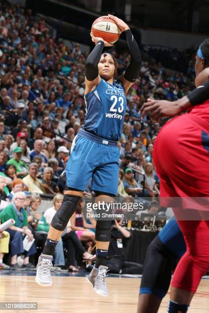 forward Maya Moore of the Minnesota Lynx shoots the ball during the game against the Washington Mystics on August 19 2018 at Target Center in...