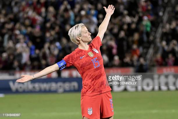 US forward Megan Rapinoe celebrates after scoring a goal against Australia during the women's international friendly football match betwenn the...