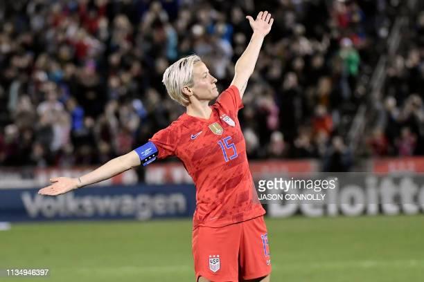 US forward Megan Rapinoe celebrates after scoring a goal against Australia during the women's international friendly football match betwenn the...