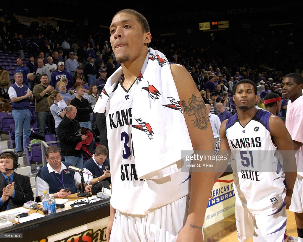Forward Michael Beasley #30 of the Kansas State Wildcats walks off the court after beating the Nebraska Cornhuskers 74-59 on February 6, 2008 at Bramlage Coliseum in Manhattan, Kansas.