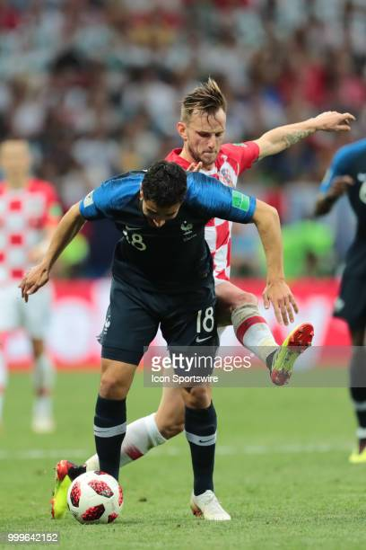 Forward Nabil Fekir of France National team in action with Midfielder Ivan Rakitic of Croatia National team during the final match between France and...