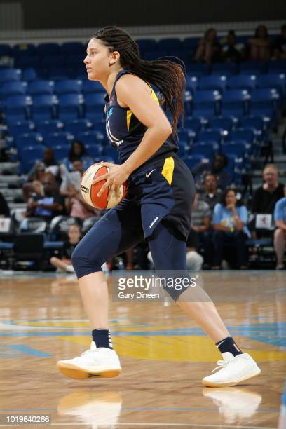 Forward Natalie Achonwa of the Indiana Fever passes the ball during the game against the Chicago Sky on August 19 2018 at the Wintrust Arena in...