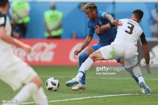 forward Neymar of Brazil and defender Giancarlo Gonzalez of Costa Rica during the Group E 2018 FIFA World Cup soccer match between Brazil and Costa...