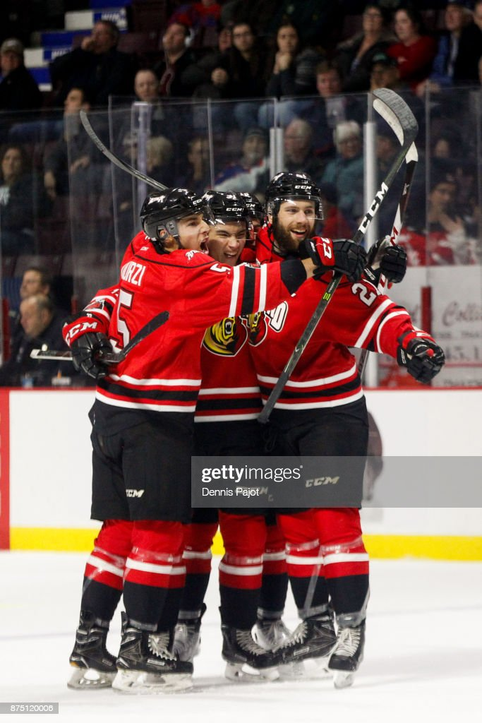 Forward Nick Suzuki #27 of the Owen Sound Attack celebrates his third period game winning goal against the Windsor Spitfires on November 16, 2017 at the WFCU Centre in Windsor, Ontario, Canada.