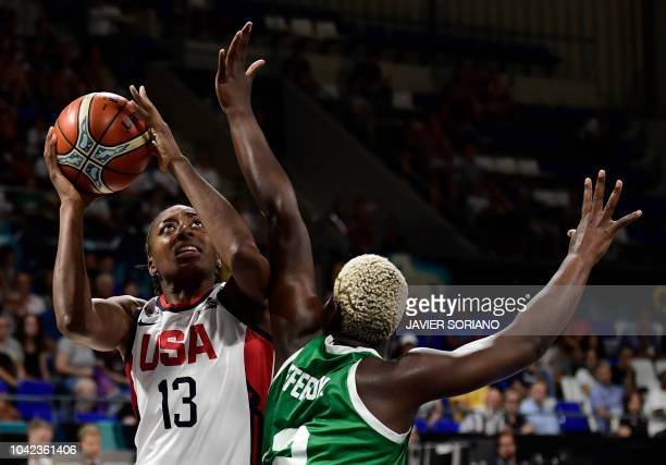 TOPSHOT US' forward Nneka Ogwumike vies with Nigeria's guard Promise Amukamara during the FIBA 2018 Women's Basketball World Cup quarter final match...