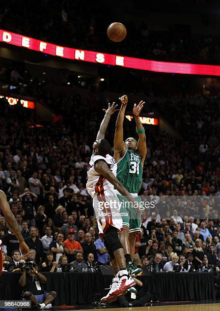 Forward Paul Pierce of the Boston Celtics hits the game winning shot to defeat the Miami Heat 10098 in Game Three of the Eastern Conference...