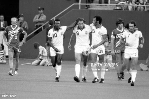 Forward Pele, Giorgio Chinaglia and Carlos Alberto of the New York Cosmos during a game on July 27, 1977 against the Washington Diplomats at Giants...