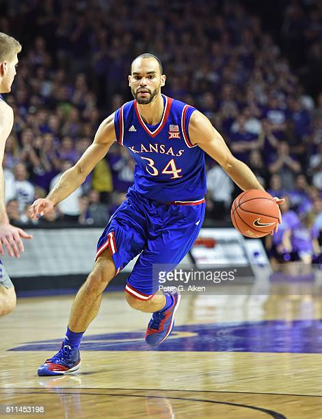 Forward Perry Ellis of the Kansas Jayhawks drives up court against the Kansas State Wildcats during the first half on February 20 2016 at Bramlage...