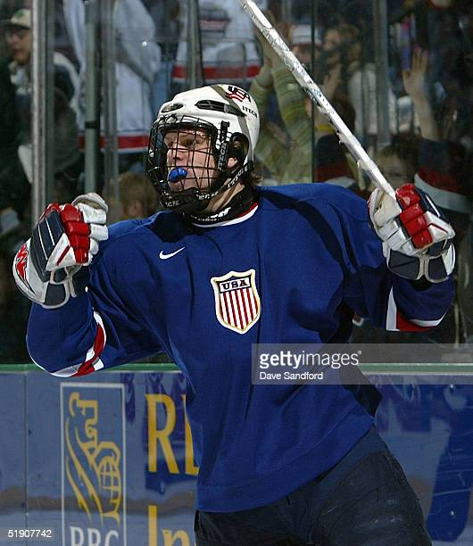 Forward Phil Kessel of Team USA celebrates his third goal of the game against Sweden during their quarterfinal game of the World Junior Hockey...