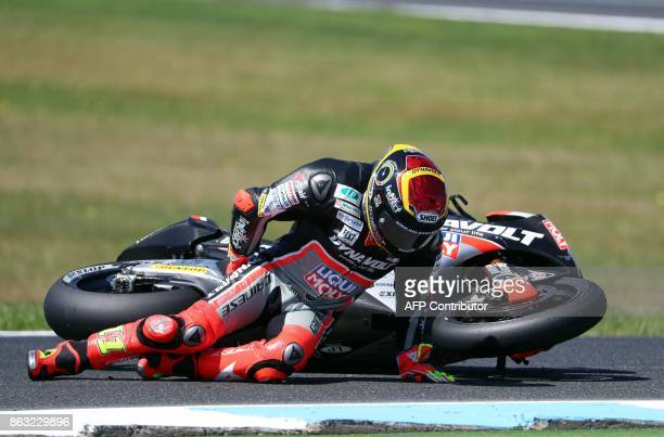 Forward Racing Team rider Luca Marini of Italy crashes during the Moto2-class first practice session of the Australian MotoGP Grand Prix at Phillip...