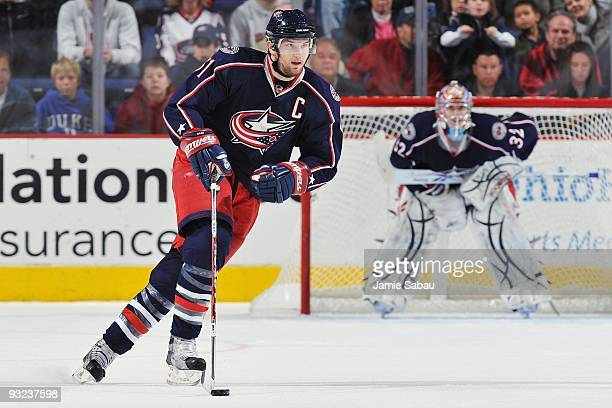 Forward Rick Nash of the Columbus Blue Jackets skates with the puck against the Edmonton Oilers on November 16, 2009 at Nationwide Arena in Columbus,...