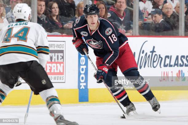Forward RJ Umberger skates with the puck against the San Jose Sharks on December 17 2008 at Nationwide Arena in Columbus Ohio