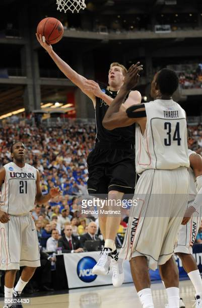 Forward Robbie Hummel of the Purdue Boilermakers takes a shot against the Connenticut Huskies in the Sweet 16 of the NCAA Division I Men's Basketball...