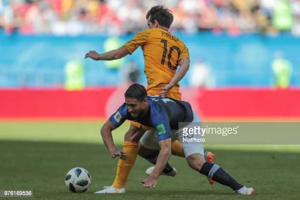 forward Robbie Kruse of Australia National team and forward Nabil Fekir of France National team during a Group C 2018 FIFA World Cup soccer match...