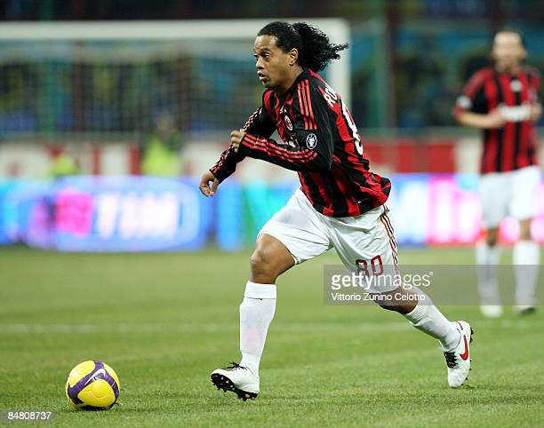 Forward Ronaldinho of AC Milan in action during FC Inter Milan v AC Milan Serie A match on February 15 2009 in Milan Italy