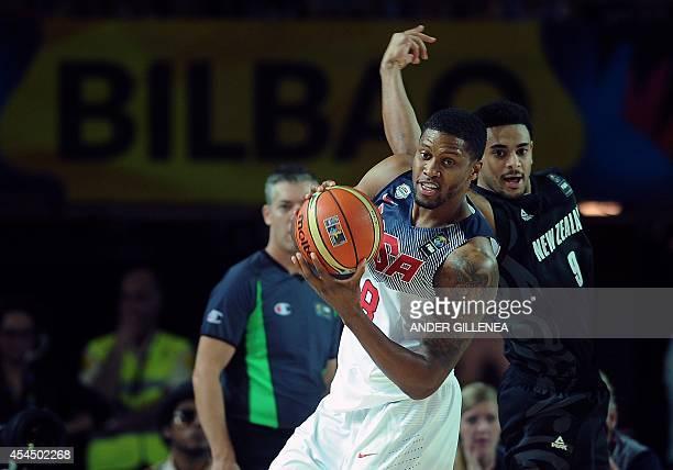 Forward Rudy Gay vies with New Zealand's guard Corey Webster during the 2014 FIBA World basketball championships group C match USA vs New Zealand at...