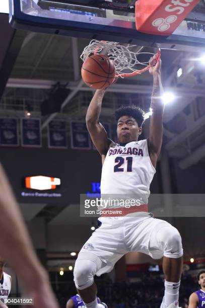 GU forward Rui Hachimura dunks during the game between the Portland Pilots and the Gonzaga Bulldogs played on January 11 at McCarthey Athletic Center...