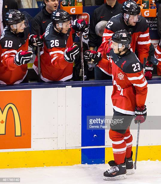 Forward Sam Reinhart of Canada celebrates a goal against Russia during the Gold medal game of the 2015 IIHF World Junior Championship on January 05...
