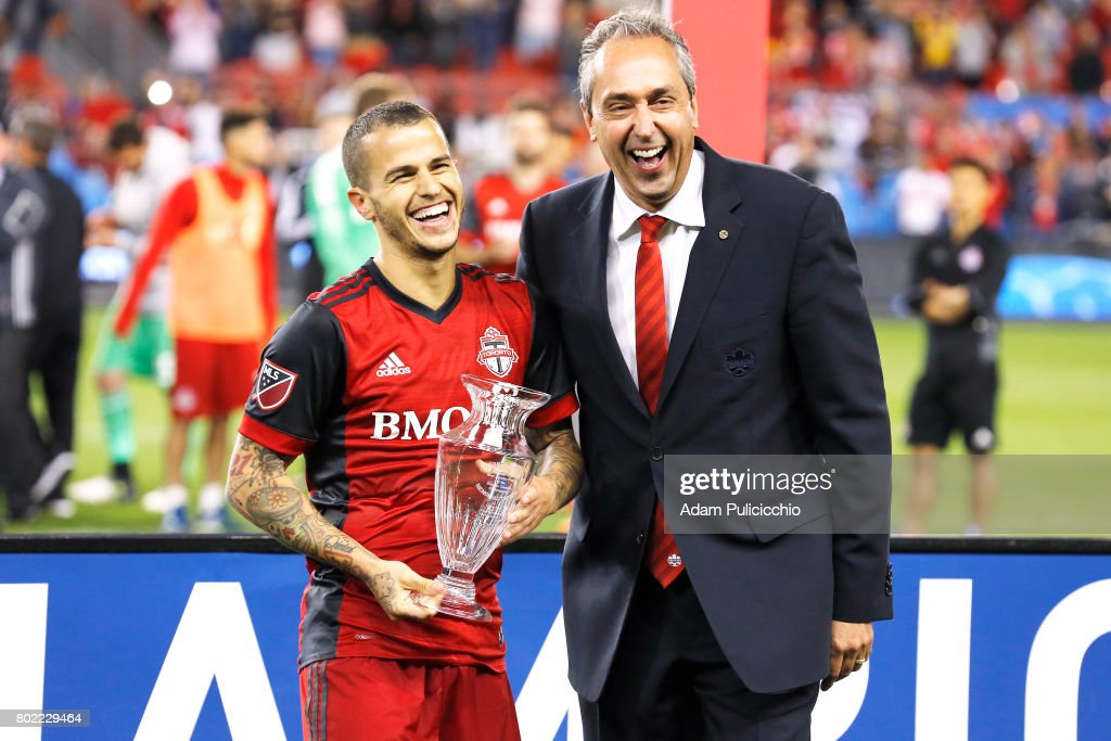 Forward Sebastian Giovinco #10 of Toronto FC wins the George Gross Trophy as the 2017 Canadian Championship MVP against the Montreal Impact during Leg 2 of the 2017 Canadian Championship as Toronto FC defeat the Montreal Impact 3 - 2 on aggregate on June 27, 2017 at BMO Field in Toronto, Canada.