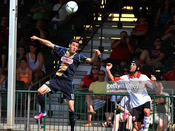 Forward Sebastien Le Toux of the Philadelphia Union jumps for a sideline ball against DC United February 23 2013 in the final round of the Disney Pro...