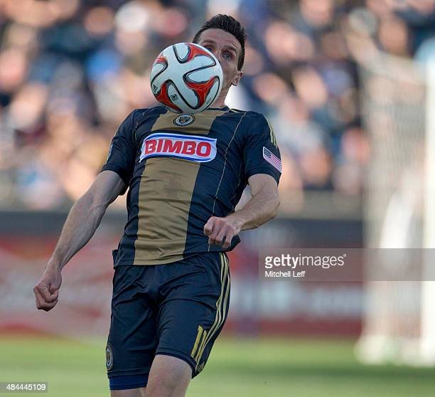 Forward Sebastien Le Toux of the Philadelphia Union plays the ball off his chest against Real Salt Lake on April 12 2014 at PPL Park in Chester...