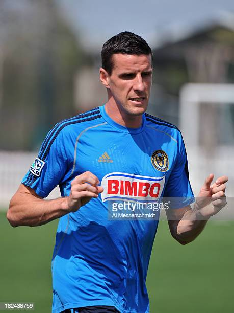 Forward Sebastien Le Toux of the Philadelphia Union warms up for play against DC United February 23 2013 in the final round of the Disney Pro Soccer...