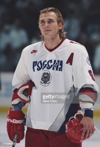 Forward Sergei Fedorov of Russia during the North American Pool match against Canada on 29 August 1996 during the inaugural World Cup of Hockey at...