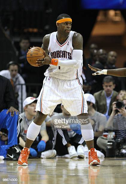 Forward Stephen Jackson of the Charlotte Bobcats looks to pass the ball during Game Three of the Eastern Conference Quarterfinals against the Orlando...