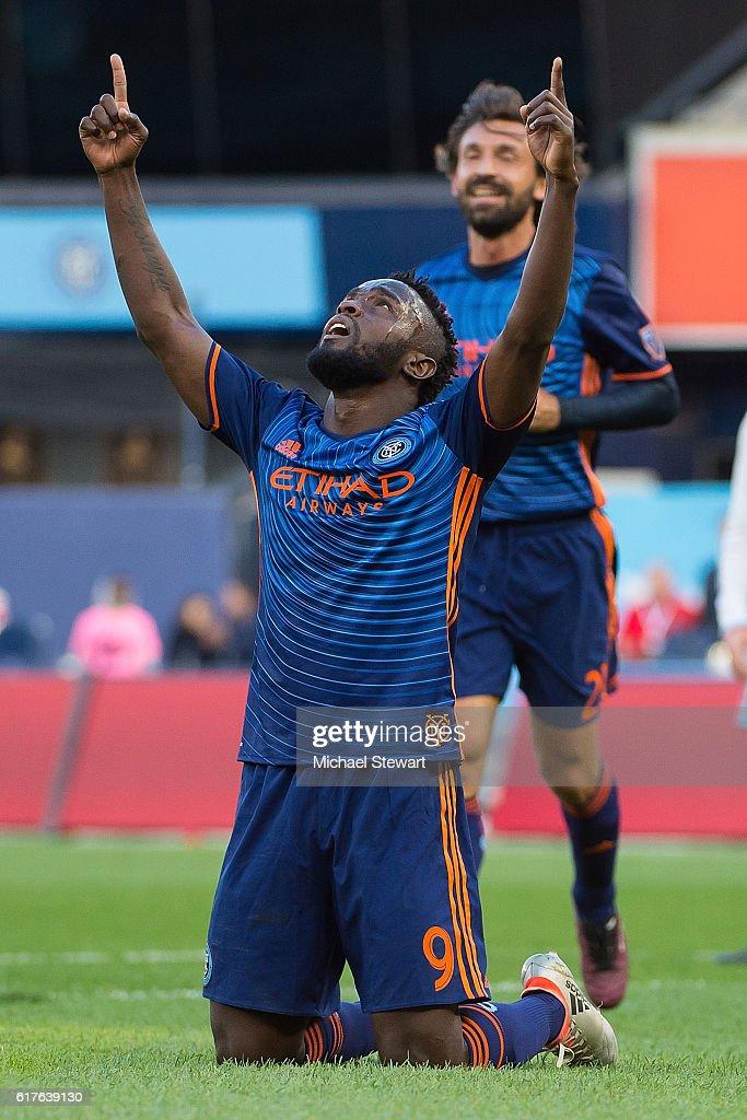Forward Stephen Mendoza #9 of New York City FC celebrates after scoring a goal during the match vs Columbus Crew SC at Yankee Stadium on October 23, 2016 in New York City. New York City FC defeats Columbus Crew SC