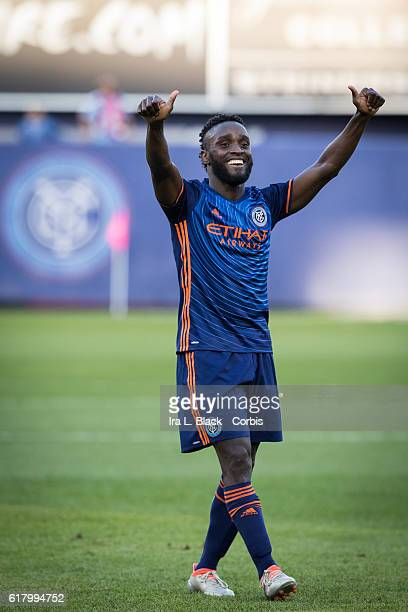 Forward Steven Mendoza is all thumbs up after scoring a goal during the Soccer 2016 Major League Soccer final season match between NYCFC vs Columbus...