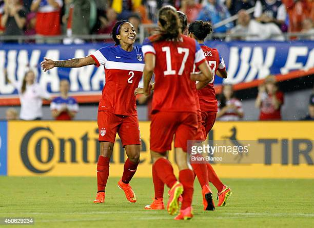 Forward Sydney Leroux of the United States celebrates her goal against France with midfielder Tobin Heath of the United States and forward Christen...