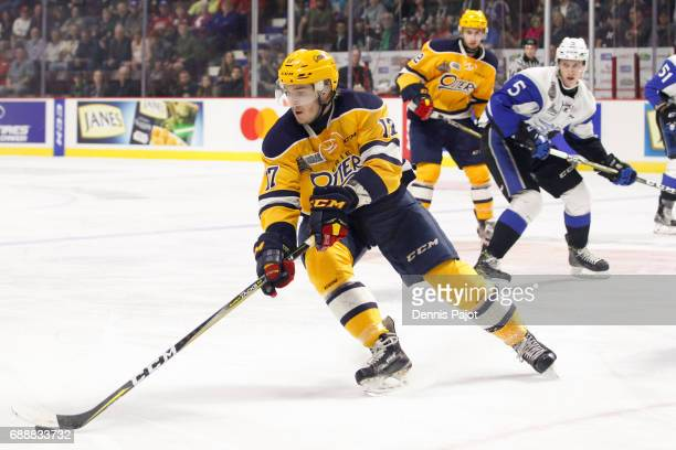 Forward Taylor Raddysh of the Erie Otters moves the puck against the Saint John Sea Dogs on May 26 2017 during the semifinal game of the Mastercard...