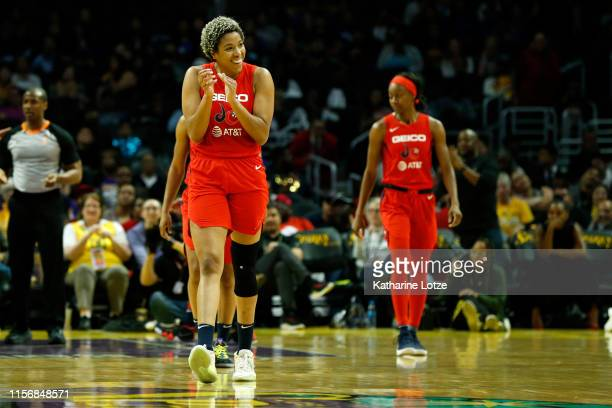 Forward Tianna Hawkins of the Washington Mystics claps after she was fouled during a game against the Los Angeles Sparks at Staples Center on June 18...