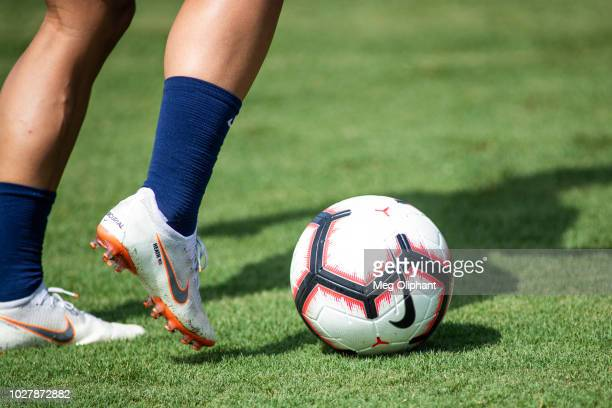 Forward Tobin Heath does drills at the US Women's National Team practice before their friendly match against Chile at StubHub Center on August 28...