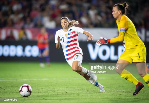 Forward Tobin Heath of the US Women's National team goes after the ball during the friendly match against Chile at StubHub Center on August 31 2018...