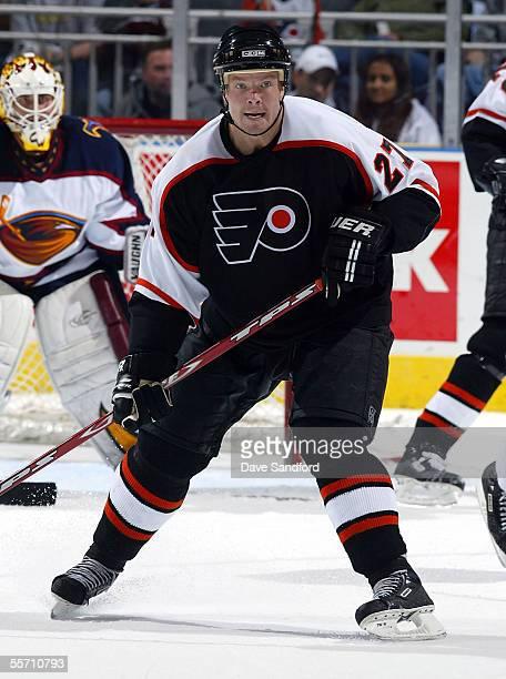 Forward Turner Stevenson of the Philadelphia Flyers skates against the Atlanta Thrashers during their preseason game at the John Labatt Centre...