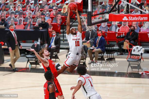 Forward Tyreek Smith of the Texas Tech Red Raiders dunks the ball during the first half of the college basketball game against the Incarnate Word...