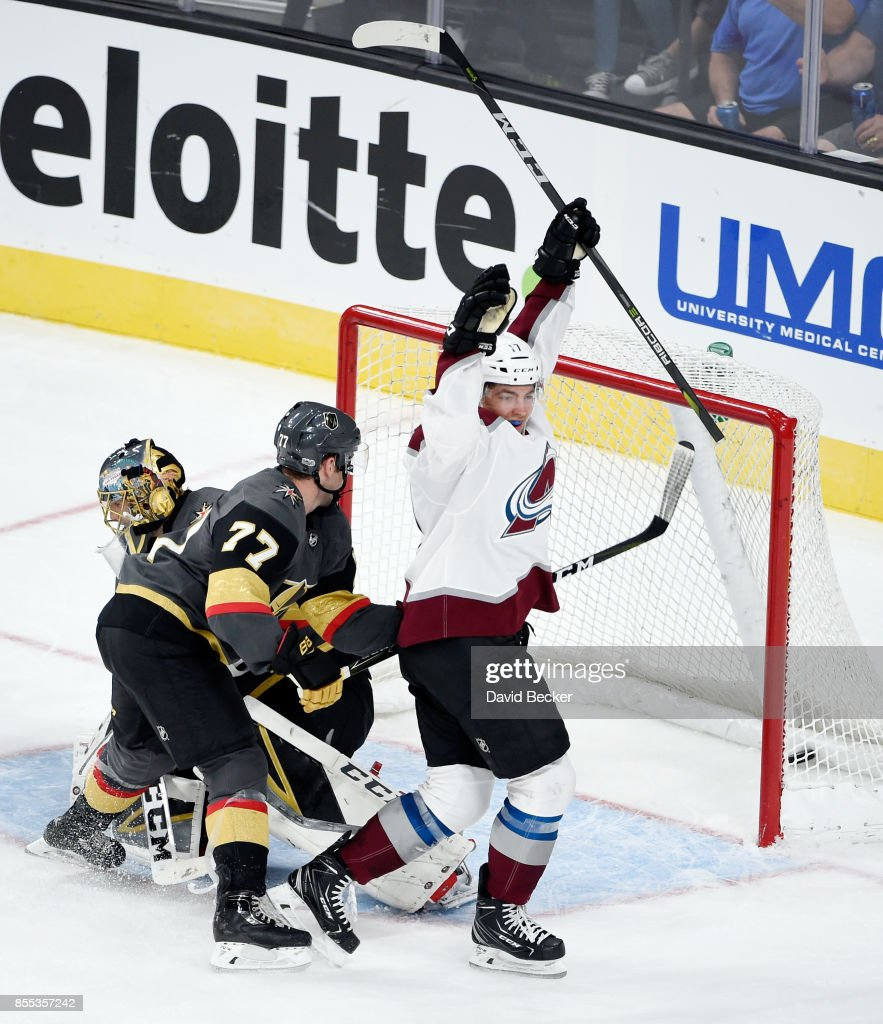 Forward Tyson Jost #17 of the Colorado Avalanche reacts after scoring a goal against Brad Hunt #77 and goalie Marc-Andre Fleury #29 of the Vegas Golden Knights during a preseason game at T-Mobile Arena on September 28, 2017 in Las Vegas, Nevada. Colorado won 4-2.