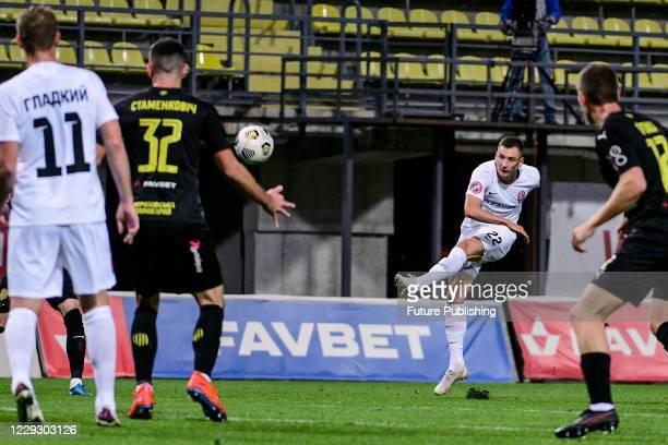 Forward Vladyslav Kabaiev of FC Zorya Luhansk kicks the ball during the Ukrainian Premier League Matchday 7 game against FC Rukh Lviv at the...