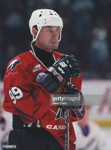 Forward Wayne Gretzky of Canada during the North American Pool match against Canada on 29 August 1996 during the inaugural World Cup of Hockey at the...